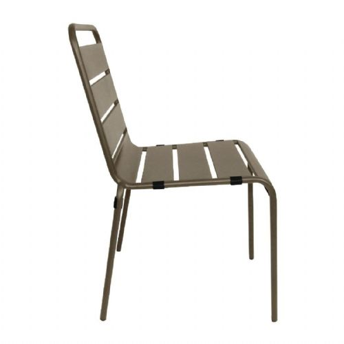 Bolero Coffee Slatted Steel Side Chairs (Pack of 4) - CS729
